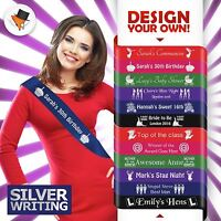 CUSTOM SASH HIGH QUALITY SILVER WRITING FOR HEN PARTY BABY SHOWER BIRTHDAY&