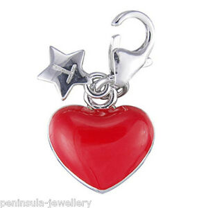 Tingle Sterling Silver Charm clip on Red Love Heart with Gift Bag and Box SCH114