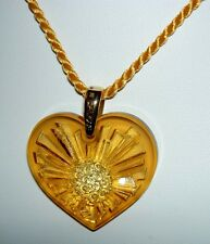 Authentic LALIQUE Amber Yellow Sol Sun Heart Crystal Pendant Necklace France NIB