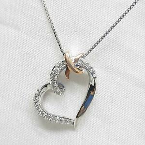 Genuine .42ctw H-SI Diamond 10K Rose Gold 925 Sterling Silver Necklace 3.2g