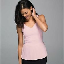 NWT $64 LULULEMON 12 CITY TANK PLEATED BARELY PINK LIGHT TOP SHIRT WORKOUT YOGA