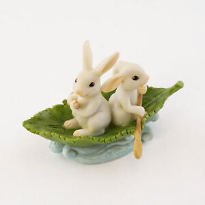 Two Bunnies Rowing Leaf Boat TO 4665 Miniature Fairy Garden