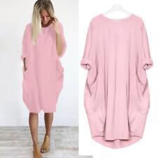 Women Pocket Loose Dress Ladies Crew Neck Casual Baggy Long Tops Dress Plus Size
