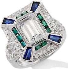 Xavier 3.66ct Absolute and Created Sapphire Sterling Silver Ring - Size 5
