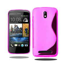HTC Desire 500 Pink S Pattern Rubber Silicone Gel Soft Slim Fitted Case Cover