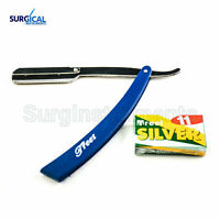 Blue Straight Barber Edge Steel Razor Folding Shaving Knife 11 Blades Razors