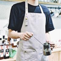 Cotton Men Aprons Pocket Grey Work Kitchen Cooking Art Restaurant HOUSEA