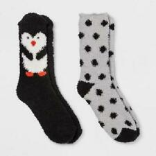 Give Love Renew Women's Fuzzy Cozy Crew Socks-Penguin & Polka Dots-Size 4-10