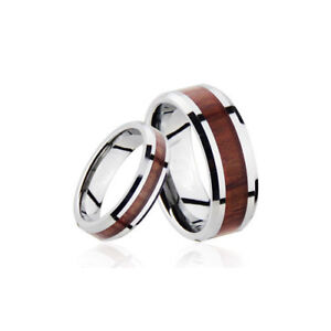 Men's and Women's Silver WoodTungsten Wedding Band Ring TR05