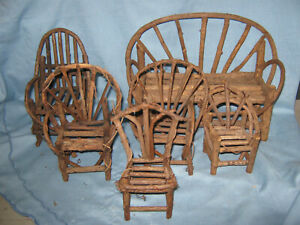 """Miniature Bent Wood  Twig  Rustic Doll Furniture Sofa & 5 Chairs   for 8"""" Doll"""