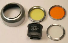 Petri Finder & ACE 32 metal slip on lens hood w UV / O / Y filters for Petri 35