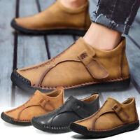 Menico Men Vintage Leather Hand Stitching Shoes Hook Loop Casual Ankle Boots