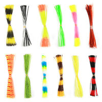 NEW 12 Bundles 50 Strands Silicone Skirts Fishing Skirt Rubber Jig Lure Random