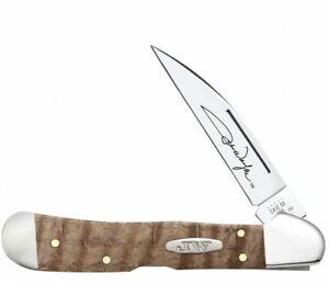 Case xx John Wayne Copperlock Knife Curly Oak Wood 10709 Wharncliffe