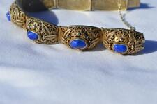 ANTIQUE CHINESE LAPIS GILT OVER SILVER FILIGREE ORNATE BRACELET W/ SAFETY CHAIN