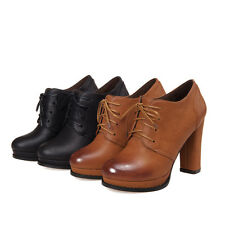 Brogue Hot Womens Cuban High Heels Vintage Lace Up Trendy Casual Shoes Round Toe