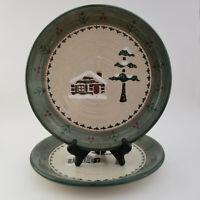 "Set of 2 Sonoma LODGE Round Dinner Plates Cabin Pine Tree 10 1/4"""
