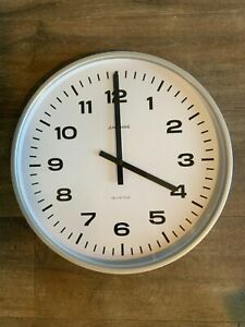 """Junghans Wall Clock 16"""" 41cm Office Station Metal Surround"""
