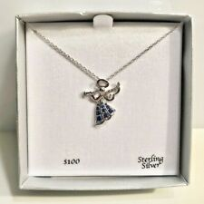 Department Sterling Silver Angel Jeweled Pendant Necklace D906