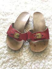 Vintage Dr Scholls Women's Wooden Sandal Red Size 5