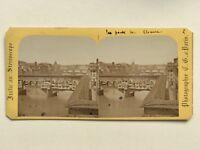 Firenze Ponte Vecchio Italia Foto Charles Gaudin Stereo Vintage Albumina c1865