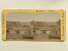 Florence Ponte Vecchio Italie Photo Charles Gaudin Stereo Vintage Albumine c1865