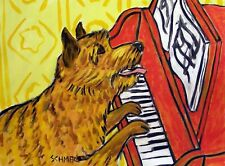 Norwich Terrier piano dog art note card set Jschmetz new gift