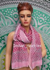Indian Fashion Women Long Block Print Cotton Scarf Wrap Sarong Shawl Large Art46