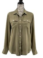 J. Crew Blouse 100% Silk Long Sleeve Olive Green Top 2 Front Pockets Size 4 S