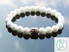 Buddha Frosted White Agate Natural Gemstone Bracelet 7-8'' Elasticated Healing