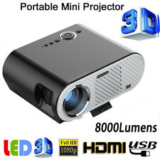 Portable 8000Lm 10000:1 Full HD 1080P Home Theater Projector USB SD HDMI VGA AV