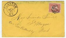SC# 94 ON COVER TIED BY FANCY PAID IN GRID CCL, CLAYTON NY PMK, 1868.