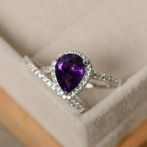 Pear Cut 2.35 Ct Amethyst Engagement Ring 14K Hallmarked White Gold