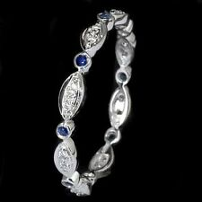 BLUE SAPPHIRE DIAMOND RING 14K WHITE GOLD DAINTY WEDDING BAND ETERNITY RING THIN
