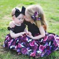 2PCS Toddler Baby Kids Girl Floral Princess Dress+Headband Party Outfits Clothes