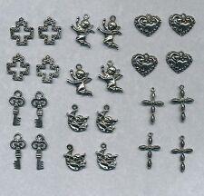 72 metal charms- cherubs, crosses, hearts, keys  (Y11)