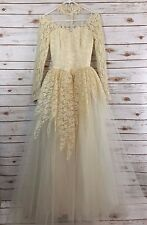 Wedding Dress Gown Lace Tulle Size 6 Ivory Beaded 2 4 Vintage fs II