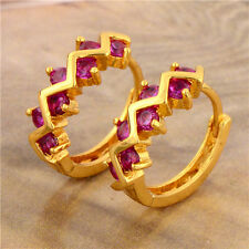 Yellow Gold Plated Round Red Ruby Wave Jewelry Womens Toddler Tiny Hoop Earrings