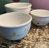 Mixing Bowls Nesting Bowls White Floral Design - Set Of 3