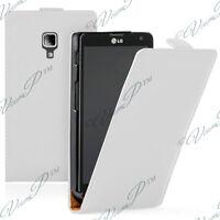 Cover Custodia PU Vero pelle Falda Bianco per LG Optimus L7 II P710/L7X P714