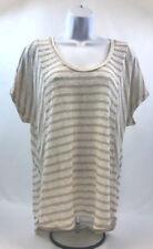 Splendid Women's Beige/Gold Striped Metallic Short Sleeve Blouse Sz L