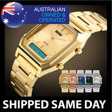 MENS WATER RESISTANT DIGITAL DRESS WATCH Divers Silver Gold WATERPROOF LED 12