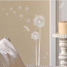 DANDELIONS & DRAGONFLIES wall stickers 16 silver decals room decor bedroom den
