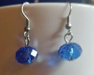 Blue glass drop earrings  Pia