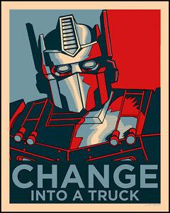 """CHANGE INTO A TRUCK"" Tim Doyle Optimus Prime Transformers silkscreen print art"