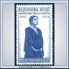 1958 Italia Repubblica Eleonora Duse n. 848 Nuovo **
