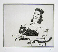 "SAUL STEINBERG Signed 1983 Original Limited Edition Etching ""Woman with Cat"""