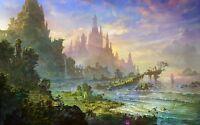 Fantasy World - Clouds Castle Sea Colourful Landscape Wall Art Canvas Pictures