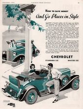 1933 A AD CHEVROLET STANDARD MASTER SIX CANADA COUNTRY CLUB BOY GIRL