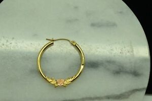 10K YELLOW GOLD ROUND HOLLOW HOOP EARRING W/ LEAVES & ROSE GOLD HEART -JUST ONE